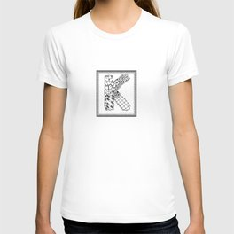 Zentangle K Monogram Alphabet initial T-shirt