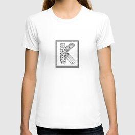 Zentangle K Monogram Alphabet initial T-shirt