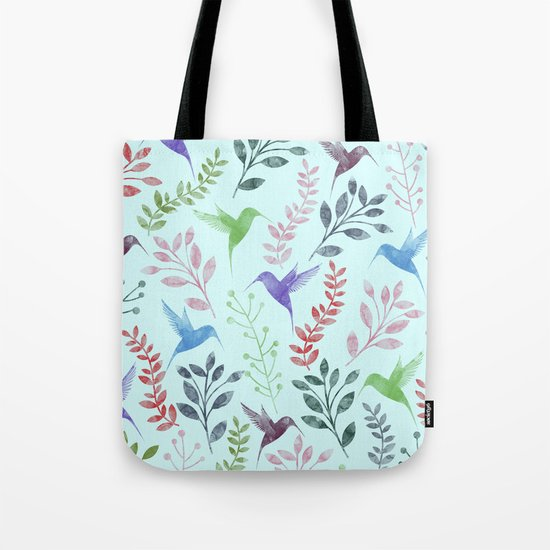 Watercolor Floral & Birds III Tote Bag