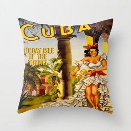 Cuba Holiday Isle of the Tropics Throw Pillow