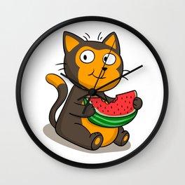 Cat Eat watermelon Wall Clock