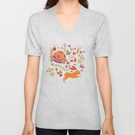 Tortoise and the Hare in Red Unisex V-Neck