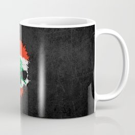 Flag of Lebanon on a Chaotic Splatter Skull Coffee Mug