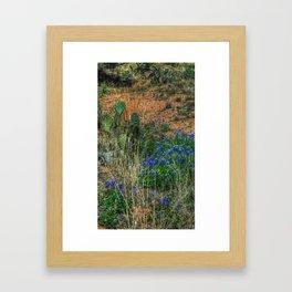 Blue Bonnets & Cactus Framed Art Print