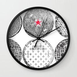 Manhole Cover Ink Print Complilation Wall Clock