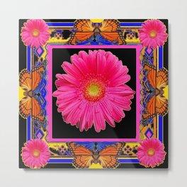Fuchsia Pink & Orange Monarch Butterflies  Sunflower Patterns Art Metal Print