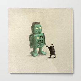 Robot vs Alien Metal Print