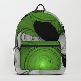 Abstract Black and White with Green Backpack