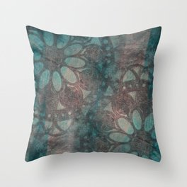 Stencilled rosettes Throw Pillow