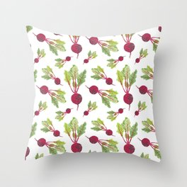 Feel the Beet in Radish White Throw Pillow