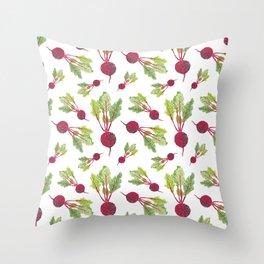 Feel the Beet in Radish White Throw Pillow