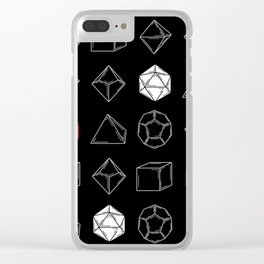 Black Dungeons and Dragons Dice Set Pattern Clear iPhone Case