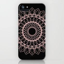 Mandala Black and Blush Pink iPhone Case