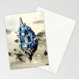 Blue town between the sky and the sea Stationery Cards