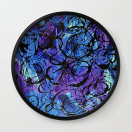 Blue and Purple with Black Tar Acrylic Swirls Wall Clock