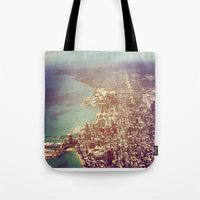 chicago Tote Bags featuring Chicago by lizzy gray kitchens