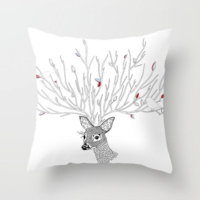 Doris Deer and Friends Throw Pillow