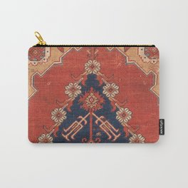 Southwest Tuscan Shapes III // 18th Century Aged Dark Blue Redish Yellow Colorful Ornate Rug Pattern Carry-All Pouch