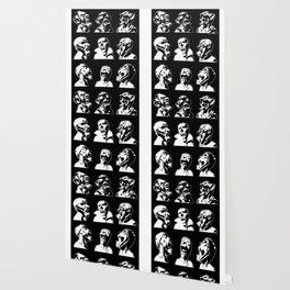 3x3 Monster Heads - Black and White Wallpaper