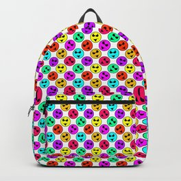 Mini Smiley Bikini Bright Neon Smiles on White Backpack