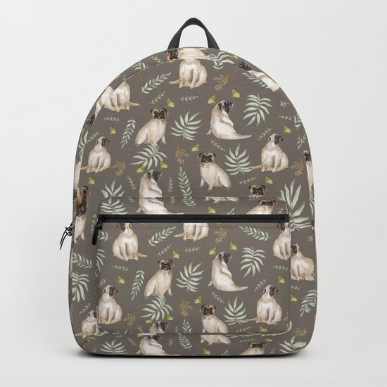 Pugs and butterflies. Brown pattern Backpack