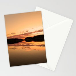 Beautiful sunset - glowing orange - forest silhouette and reflection Stationery Cards