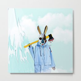 Cloudy Bunny with an axe Metal Print