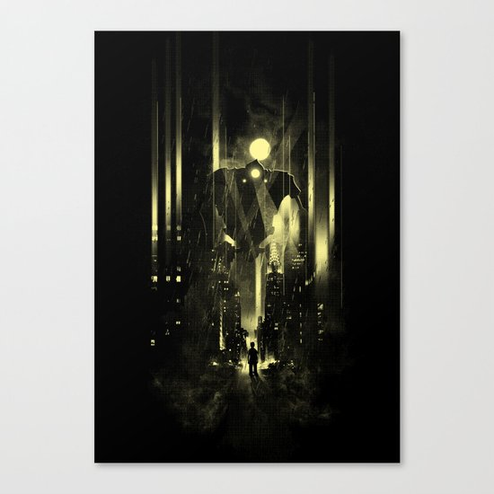 Giant robot and the kid Canvas Print