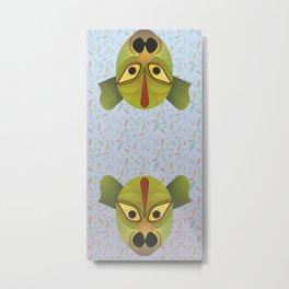 Devil amphibian bird mask Metal Print