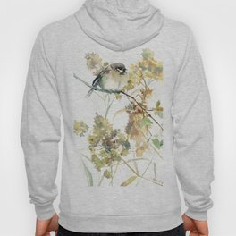 Sparrow and Dry Plants, fall foliage bird art bird design old fashion floral design Hoody