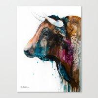 bull Canvas Prints featuring Bull by Slaveika Aladjova