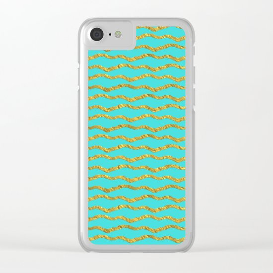 Golden waves - Abstract geometrical pattern on aqua backround Clear iPhone Case