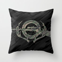 Camouflage Hunting and Shooting Sports Logo with Rifle, Buck Horns and Target Throw Pillow