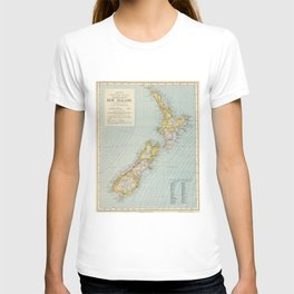 Vintage Map of New Zealand (1883) T-shirt