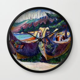 Emily Carr First Nations War Canoes in Alert Bay Wall Clock