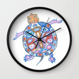 Sea Turtle - Aqua Blue Palette | Folk design Wall Clock