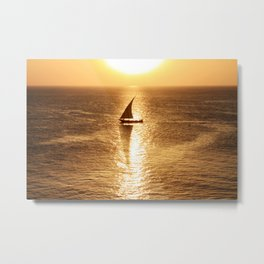 African Dhow At Sunset Metal Print