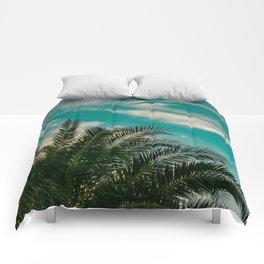 Palms on Turquoise - II Comforters