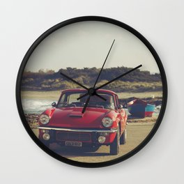Triumph Spitfire by the sea, with ship, fine art photo, british car, sports car, color, high definit Wall Clock