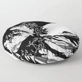 The Great Wave Black and White Inverse Floor Pillow