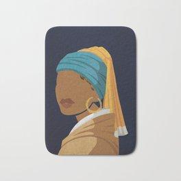 Girl With a Bamboo Earring Bath Mat