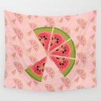 watermelon Wall Tapestries featuring Watermelon  by brocoli art print