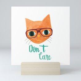 Hipster Cat - Don't Care Mini Art Print