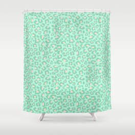 Leopard Print 2.0 - Neo Mint Shower Curtain