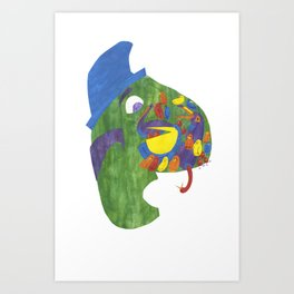 There was an old man, on whose nose,  Most birds of the air could repose. Art Print