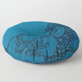Blue on Blue Floral Design Floor Pillow