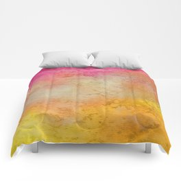 Abstract hand painted pink orange yellow grunge watercolor Comforters