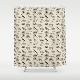 Museum Animals | Dinosaur Skeletons on Cream Shower Curtain