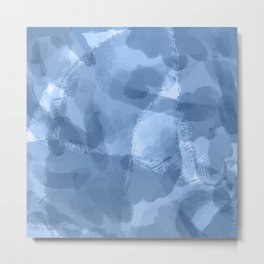 Ink Blue Watercolor Abstract Painting Metal Print