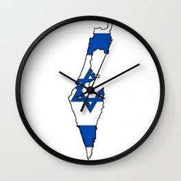 Israel Map with Israeli Flag Wall Clock